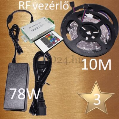 Bronz 3 (5050 SMD 30led/m szalag +RF 20 gombosvezérlő + 78W táp)