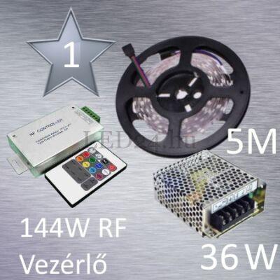 Silver 1 (5050 SMD 30led/m szalag +RF 20 gombos vezérlő + 36W fém táp)