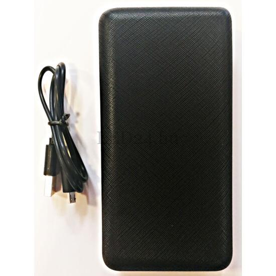 Powerbank 20000 mAh, fekete színű, USB 2.0 csatlakozó